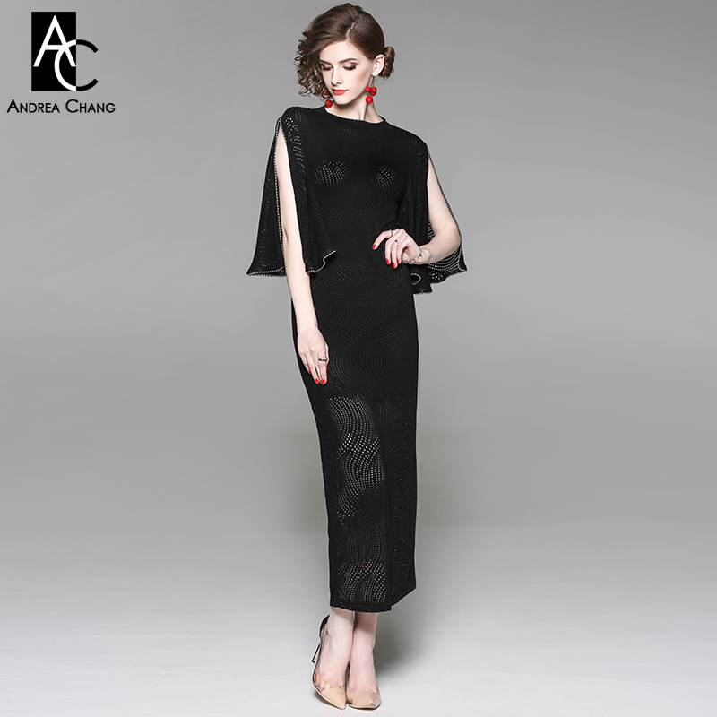 summer spring woman dress split butterfly sleeve beading cuff black knitted dress transparent mesh ankle length slim long dress spring autumn woman dress faux pearl rhinestone beading sleeve cuff knitted dress fashion vintage elastic black red party dress