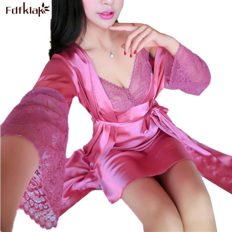 Fdfklak Sexy Temptation Spring Autumn Silk Robe Sleepwear Women Gowns Set V-neck Lace Nightwear Robes 2PCS Womens Bathrobes