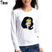 Hot Sale Women T Shirt Full Sleeve Super Woman Stars Head Portrait Graphic Tees Tops Girl