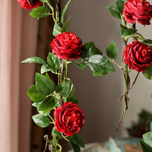 180cm peony artificial flowers vine with fake leaves green string plants 12 flower heads hanging garland H0032