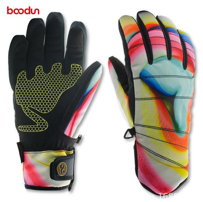 BOODUN Winter Outdoor Sport Full Finger Gloves Women Floral Skiing Gloves Windproof Warm Gloves Cycling Skating Gloves Luvas