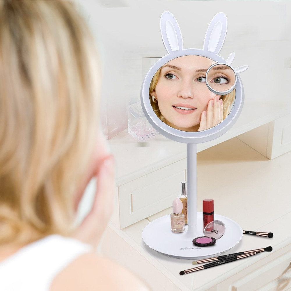 LED Makeup Mirror, Foldable Vanity Mirror, Table Lamp and Night Light 3 in 1, Touch Screen Dimming for Cosmetic, Reading, Travel 3 in 1 led makeup mirror with table lamp for bedroom decor table storage cosmetic mirror usb charging rotation white pink color