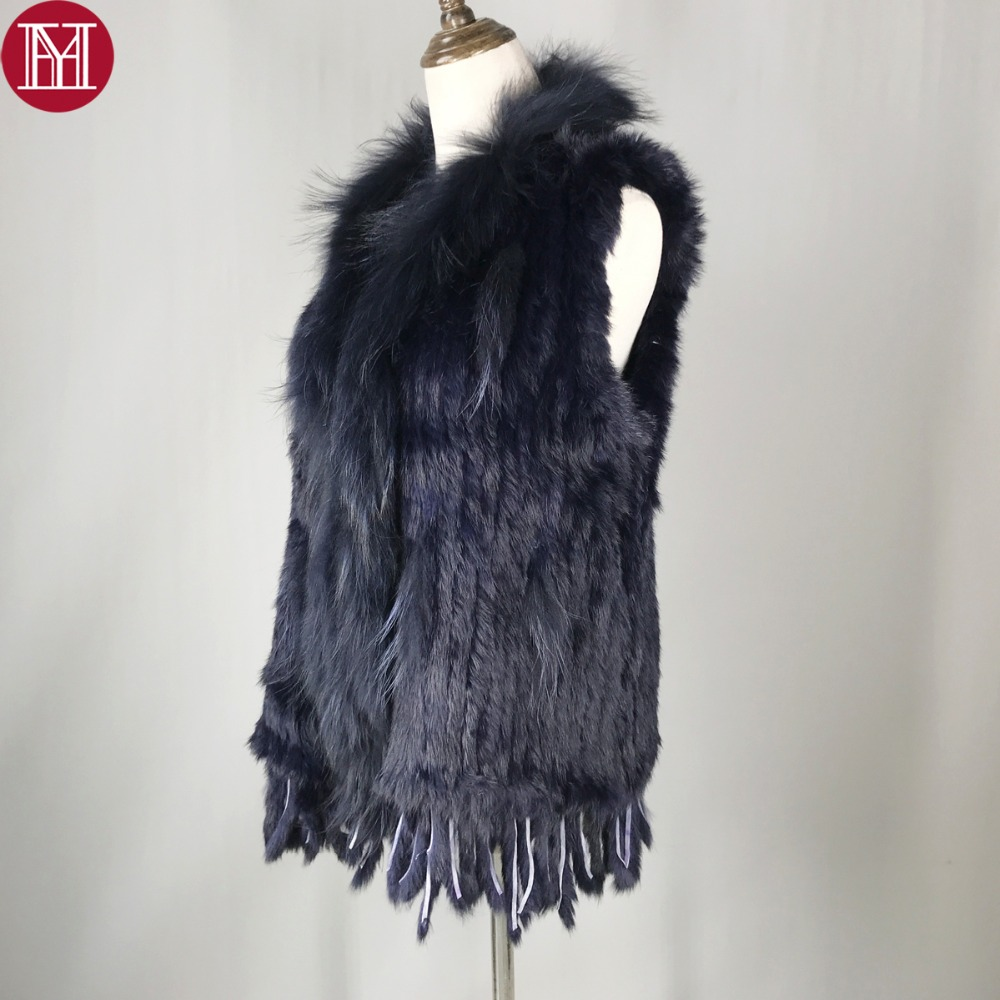 2018 Spring Autumn Women Real Rabbit Fur Vests 100 Real Rabbit Fur Knitted Gilet with tassels