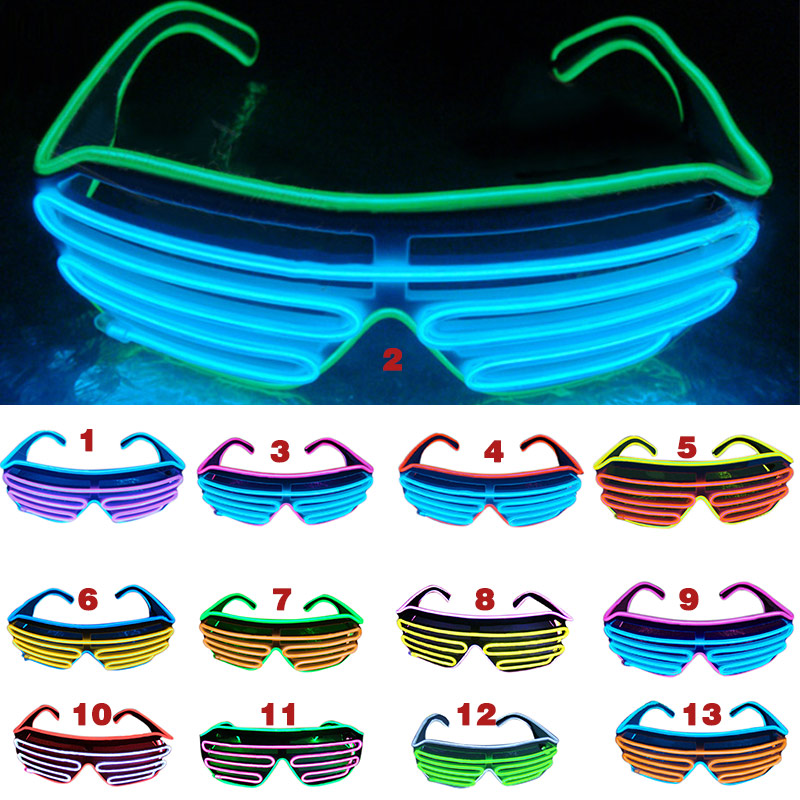 LED Sunglasses Flashing EL Wire Luminous Light Up Neon Glasses Costumes Party Decorative Lighting Activing Props Gifts M