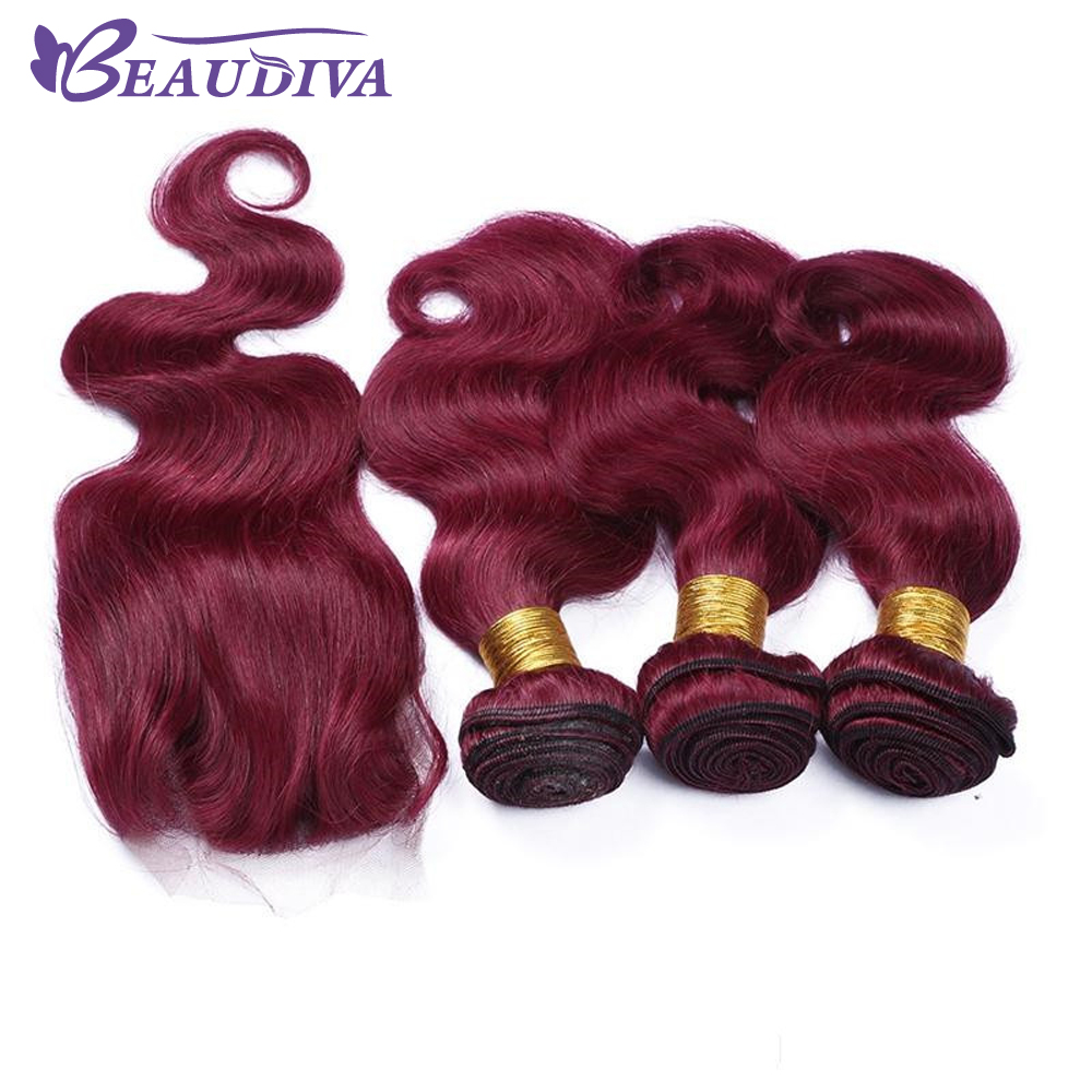 Beaudiva Pre-Colored 99J Burg Body Wave Human Hair Weave Bundles with Lace Closure Remy Hair Extensions free shipping