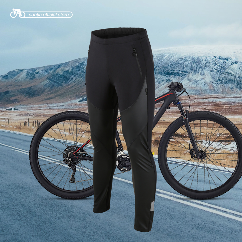 Santic Men Cycling Windproof Pants Full Long Pant Winter Two Fabrics Sport Cycling Running Leisure Fleece Pants Asian S-3XL 4093 lance hiking winter fleece thermal pants windproof leisure style climbing cycing bike outdoor sport pant men big size cloth