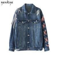 Women Eyelets Bandage Denim Jacket Lapel Long Sleeve Single Breasted Pockets Vintage Autumn Jackets Loose Streetwear
