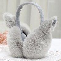 Winter Fleece Earmuffs For Women Cute Cat Ears Warmers Plush Earmuffs Earflap Back Wear Ear Bag
