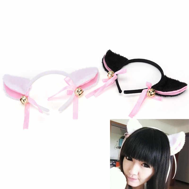 뜨거운 판매 최신 여성 패션 매력적인 사랑스러운 여우 고양이 귀 모피 헤어 클립 hairband 벨 hairwear
