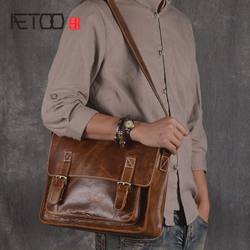 AETOO  2017 retro men Messenger bag genuine leather handmade first class leather casual travel shoulder bag large handbag men aetoo retro shoulder bag genuine handmade men women casual travel backpack large capacity first layer leather