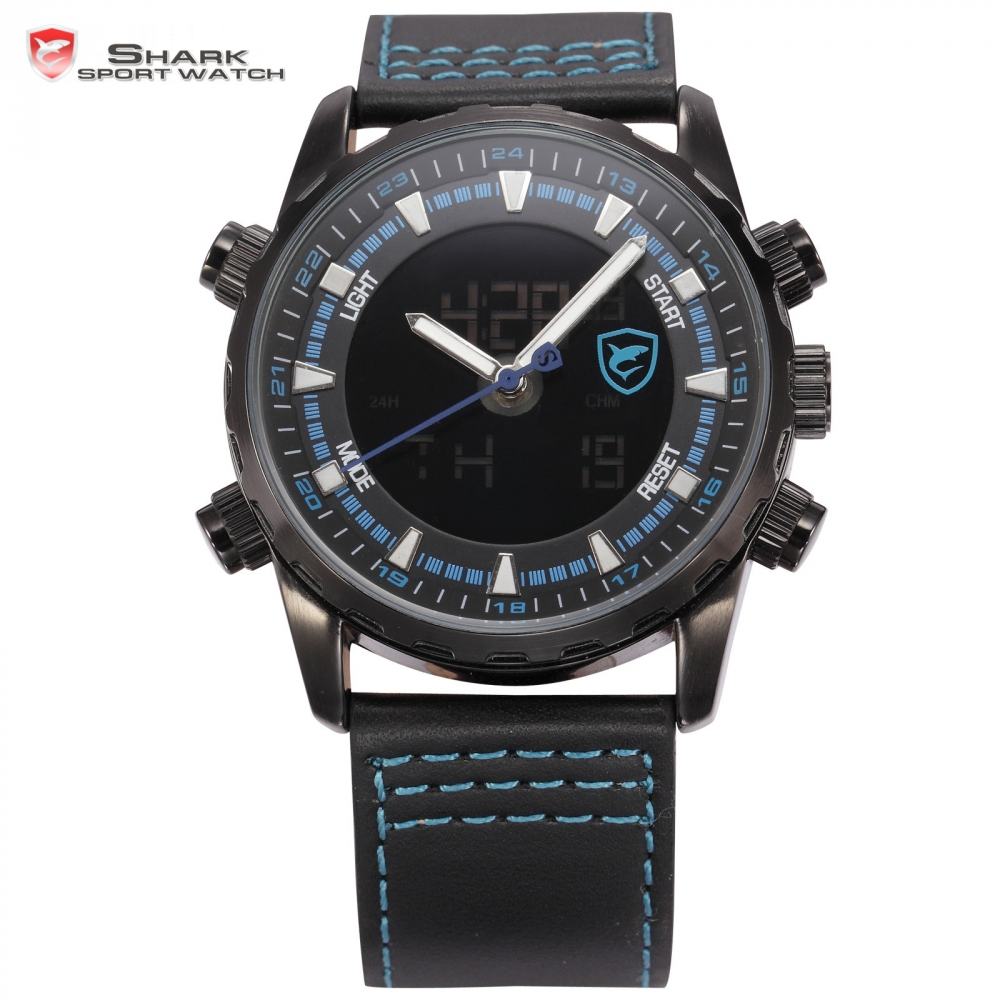 Bull Shark Sport Watch Black Blue Dial Stainless Steel Leather Band Alarm Stopwatch Back Light LCD Quartz Men Watches Gift/SH134 vik max adult kids dark blue leather figure skate shoes with aluminium alloy frame and stainless steel ice blade