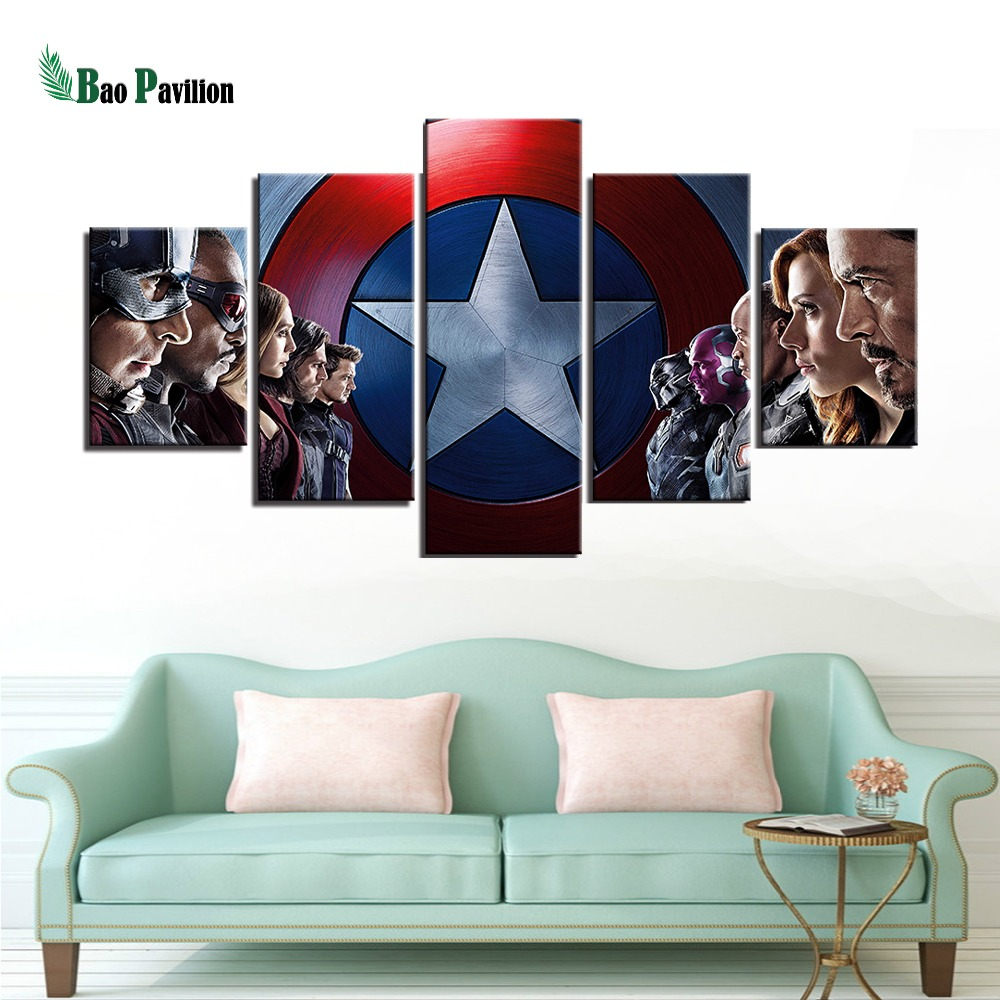 Poster Wall Modular Picture Home Decoration 5 Panel Movie Captain America Canvas Art Prints Living Room Modern Paintings Artwork in Painting Calligraphy from Home Garden