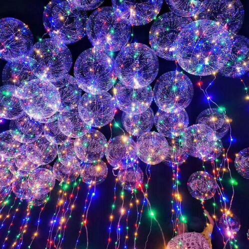 Globos Bobo redondos personalizados con 3M Alambre de tira Led Globos luminosos papel de unicornio decoración de boda fiesta de cumpleaños juguete - 3