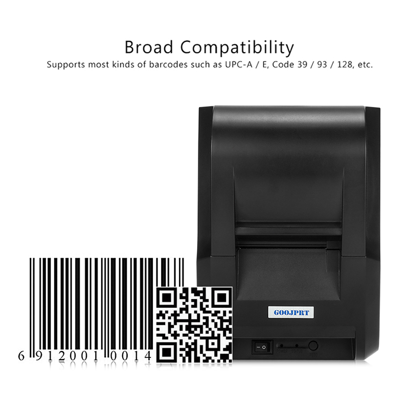 GZ5801 2 inch 58mm Pos Printer thermal printer receipt printer with USB Port 90mm/s ESC/POS For Supermarket and resaurant new hot thermal printer 5890t supermarket takeaway intelligent bluetooth food and beverage printer 90mm s 57 5 0 5mm 220v