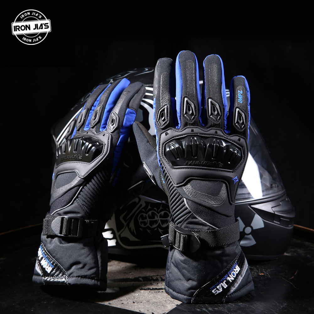 IRON JIA S Motorcycle Gloves Touch Screen Winter Warm Waterproof Protective Gloves Guantes Moto Luvas Alpine