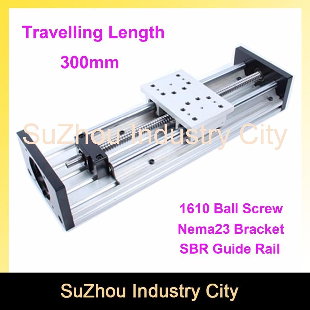 Slide BlockTravelling Length 300mm sliding table SBR20 Linear Guide Rail linear motion module Ball Screw 1610 belt driven long travel linear slide linear motion ball slide unit guide