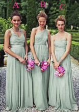 Long Chiffon Mismatch Mint Green Bridesmaid Dresses Maid of Honor Dress Wedding Guest Dress Vestido para madrinha