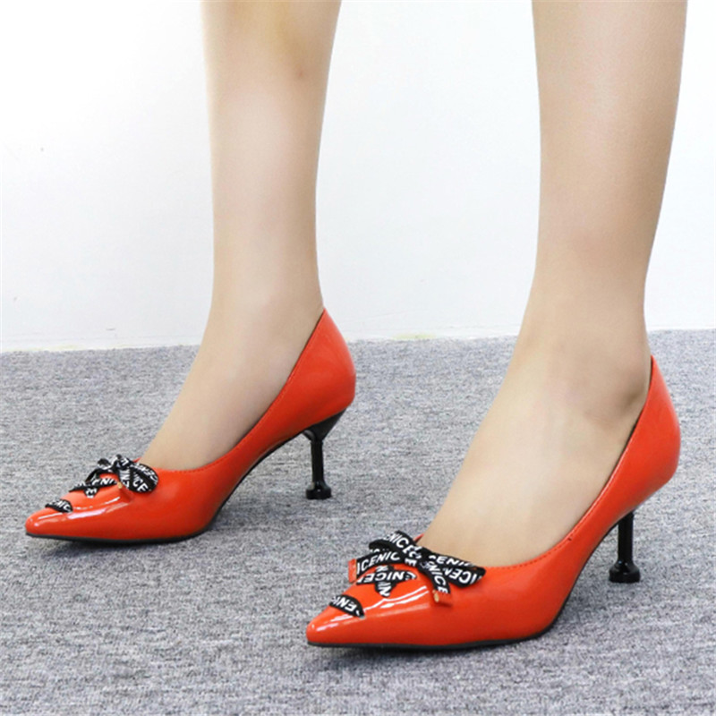 2019 Brand Sexy Pointed Toe Stiletto Lady Pumps Elegant Bow Comfortable Woman Party Wedding High Heels 7CM Women Orange Shoes in Women 39 s Pumps from Shoes