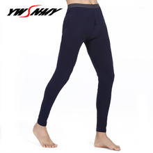 Hot Winter Men Long Johns Cotton Thermal Underwear Solid Color Warm Leggings Tights Pants High Quality Brand