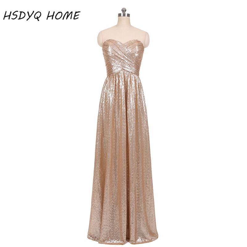 2017   Bridesmaid     Dresses   Sweetheart Neckline Rose Gold Sequin   Bridesmaid     Dress   Long Maid of Honor   Dresses   Champagne Gold