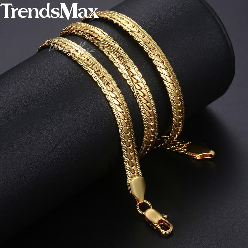 Trendsmax Herren Halskette Gold Schlange Gliederkette Halskette Für Männer Mode Männlichen Schmuck 2018 Großhandel Dropshipping Geschenk 6mm KGN399