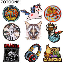 ZOTOONE Unicorn Cat  Patches Diy Round Stickers Iron on Clothes Heat Transfer Applique Embroidered Applications Cloth Fabric G zotoone round punk patches diy skull stickers iron on clothes heat transfer applique embroidered applications cloth fabric g