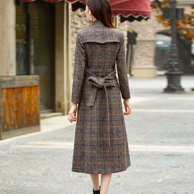 Woolen coat women high quality Trench winter outerwear plaid