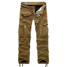 Warm Winter Men's Cargo Pants Casual Mens Pant Multi Pocket Military Overall for Men Outdoors Long Trousers