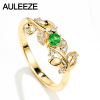 AULEEZE 18K Yellow Gold Natural Tsavorite Ring Real Diamond Ring Leaf Deaign Office Female Ring Gemstone Jewelry