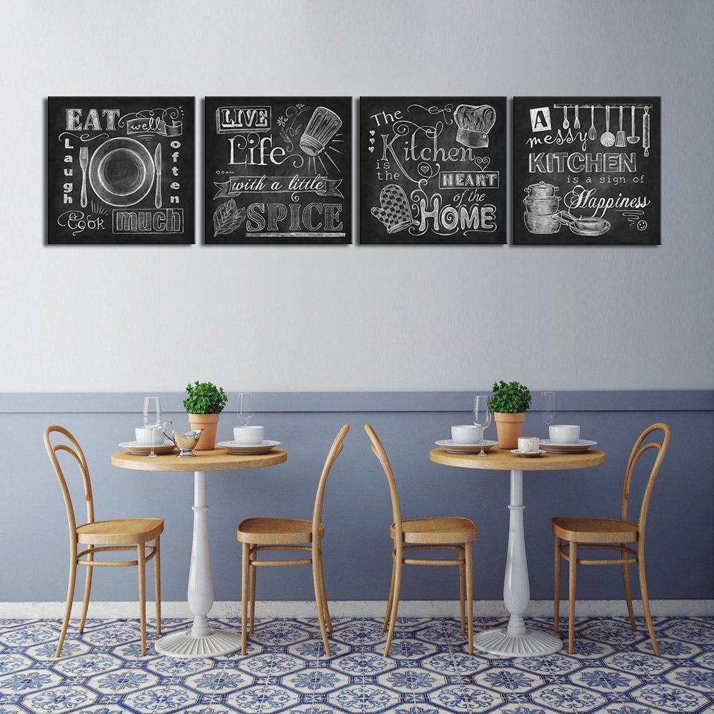 Us 36 55 Wall Art Abstract Chalkboard Kitchen Signs Canvas Prints Cook Paintings Kitchen Home Heart Decor Life Spice Pictures 4 Panel In Painting
