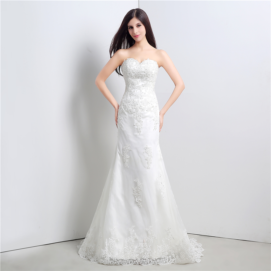 In Stock White/Ivory Applique Lace With Beading Wedding Dress Bandage Dropped Bridal Dress Robe De Mariage Vestido De Noiva 1
