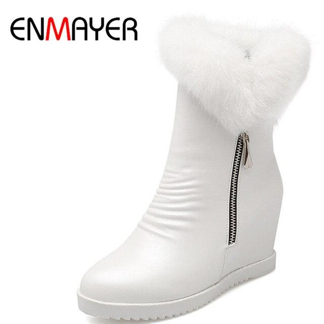 5a72b2778b995 ENMAYER Stivali a Metà polpaccio Scarpe Donna Inverno Neve Tacchi Alti  Stivali Bianchi Scarpe di Grandi