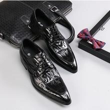 QYFCIOUFU Fashion Men's Lace-Up Oxfords Dress Shoes Mens Genuine Leather Business Office Flats Man Crocodile Pattern  Party Shoe