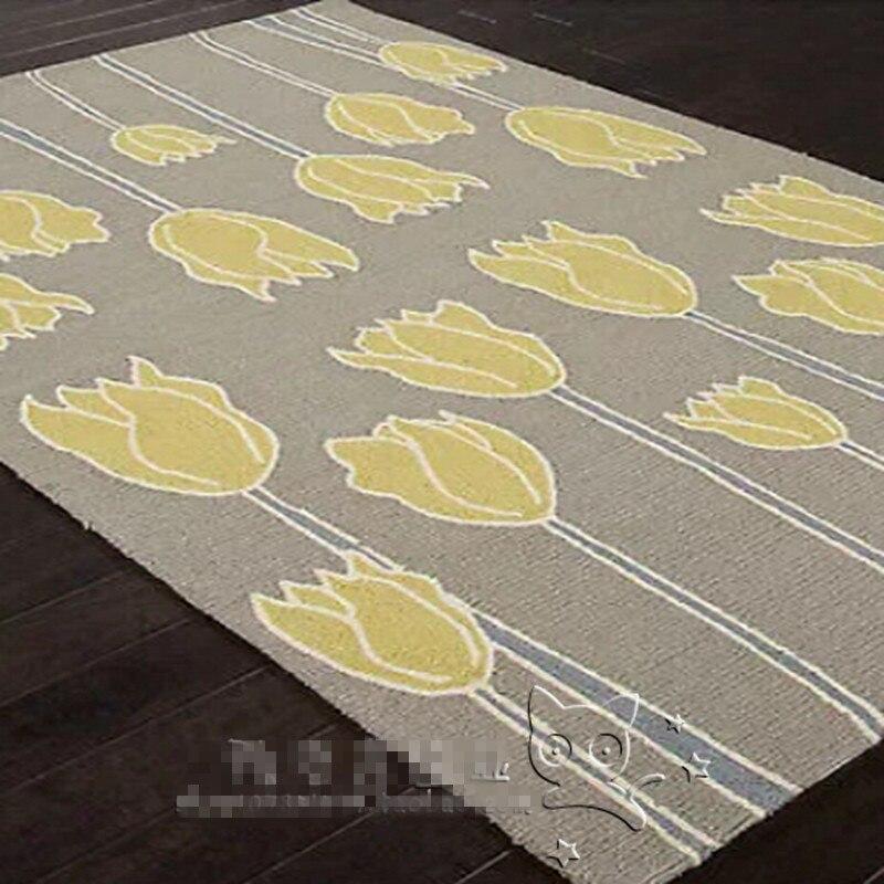 Nouveauté jaune tulipes fleurs tapis et tapis pour salon tapis fait main acrylique