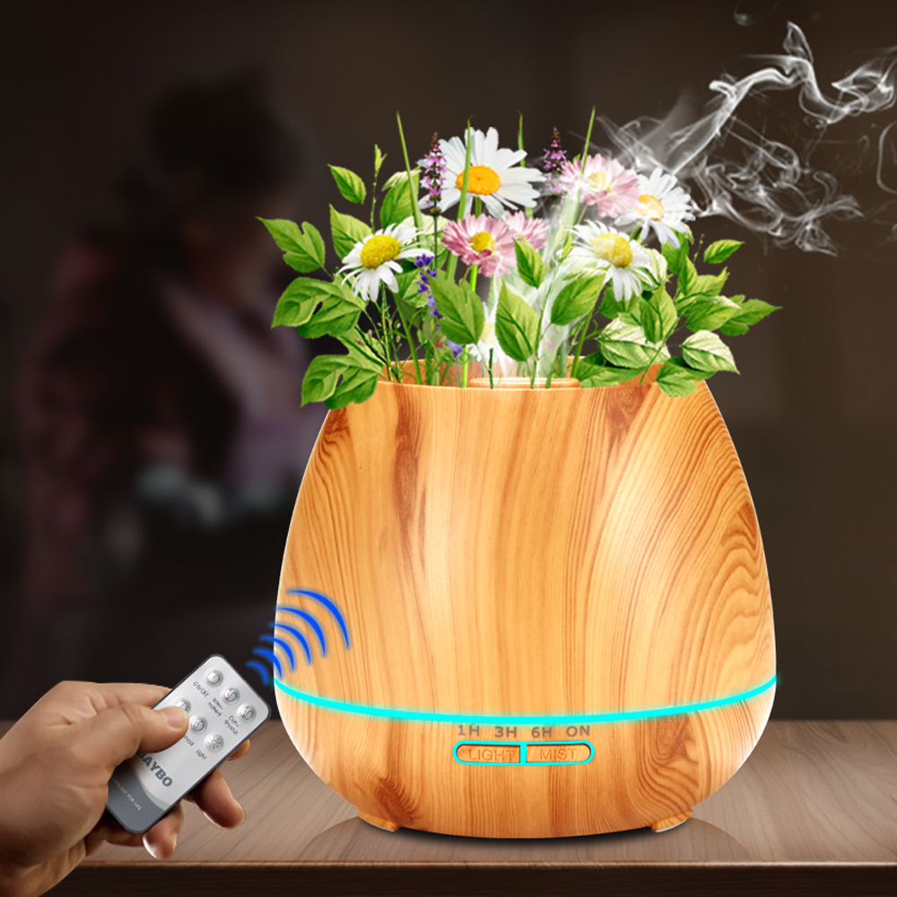 KBAYBO 550ml Aroma Essential Oil Diffuser Ultrasonic Air Humidifieraroma Diffuser for Home with Wood Grain Electric LED Lights цена