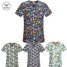 Новая медицинская одежда, подходящая для женщин и мужчин, с мультяшным принтом, хлопок, больничные скрабы для кормления, топы, клиническая форма, хирургический костюм