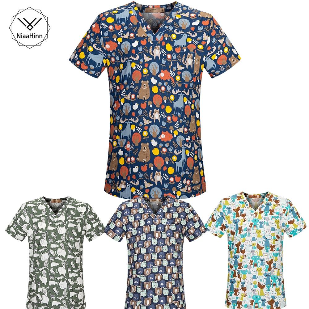 New Medical Clothing Matching Women Men Cartoon Print 100% Cotton Hospital Nursing Scrubs Tops Clinical Uniforms Surgical Suit