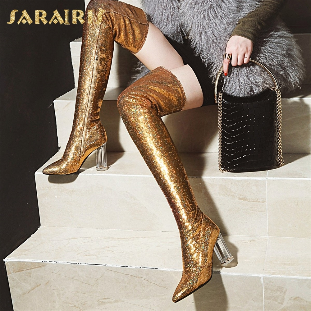 SARAIRIS New Sequin plus Size 32-43 New Fashion Zip Up Boots Shoes Woman Chunky Heels Over The Knee Boots Woman Shoes недорго, оригинальная цена