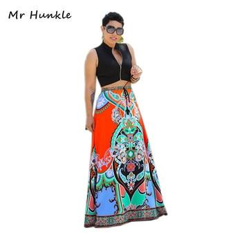 Style africain de femmes imprimé floral maxi fleur taille élastique jupe longue