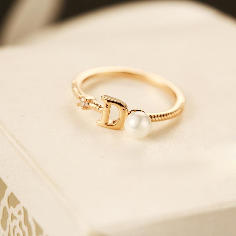 2017 New Brand Fashion Design Female Ring D Letter La s Pearl
