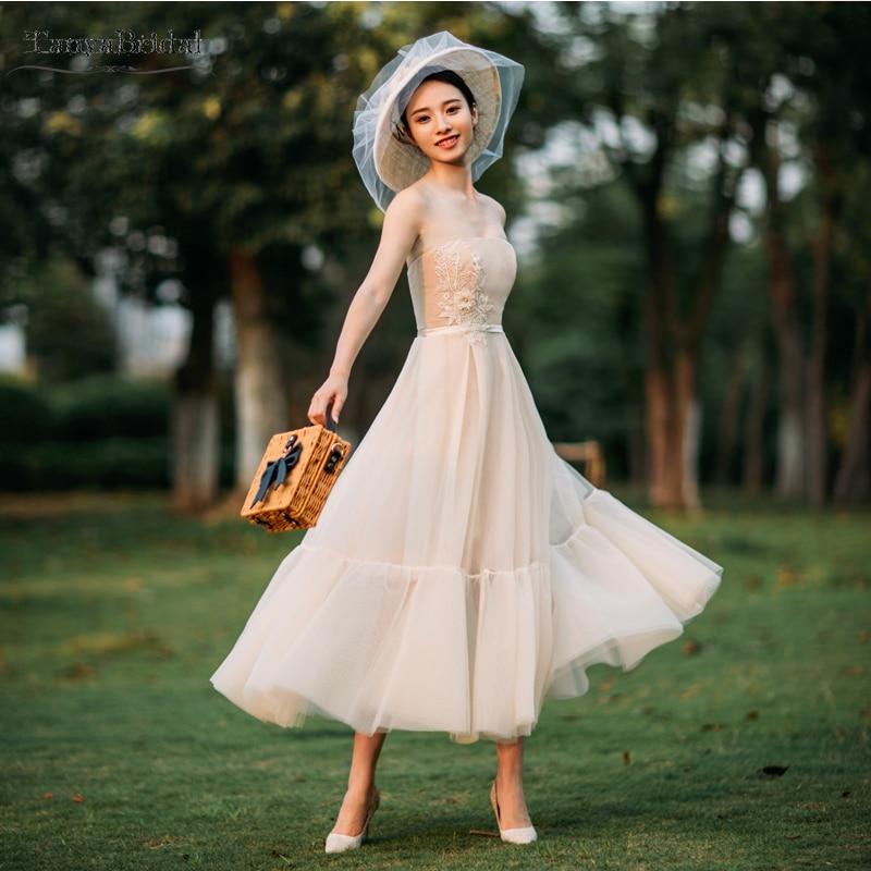 Summer Vintage Wedding Dresses: Champagne Strapless Wedding Dresses Tea Length Lace