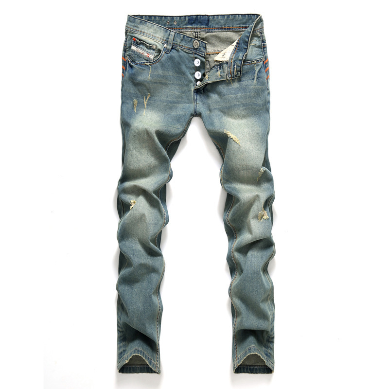 AIRGRACIAS Jeans Men Classic Mens Jeans Blue Color Cotton Ripped Hole Jeans For Men Brand Designer Biker Jean Long Pants