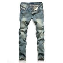 AIRGRACIAS ג ינס גברים קלאסי Mens ג ינס כחול צבע כותנה Ripped חור ג ינס גברים מותג מעצב Biker ז אן ארוך מכנסיים