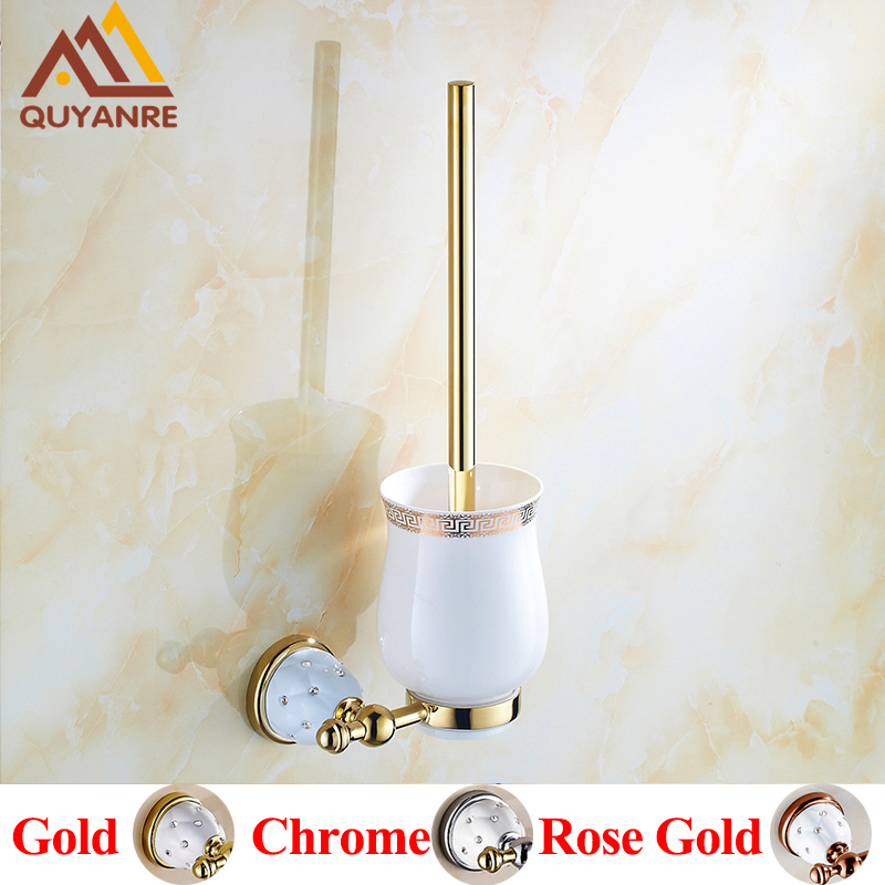Quyanre Bathroom Hardware Crystal Brass Toilet Brush holders Gold Wall mounted With Ceramic Cup Holder Bathroom Accessories simple bathroom ceramic wash four piece suit cosmetics supply brush cup set gift lo861050