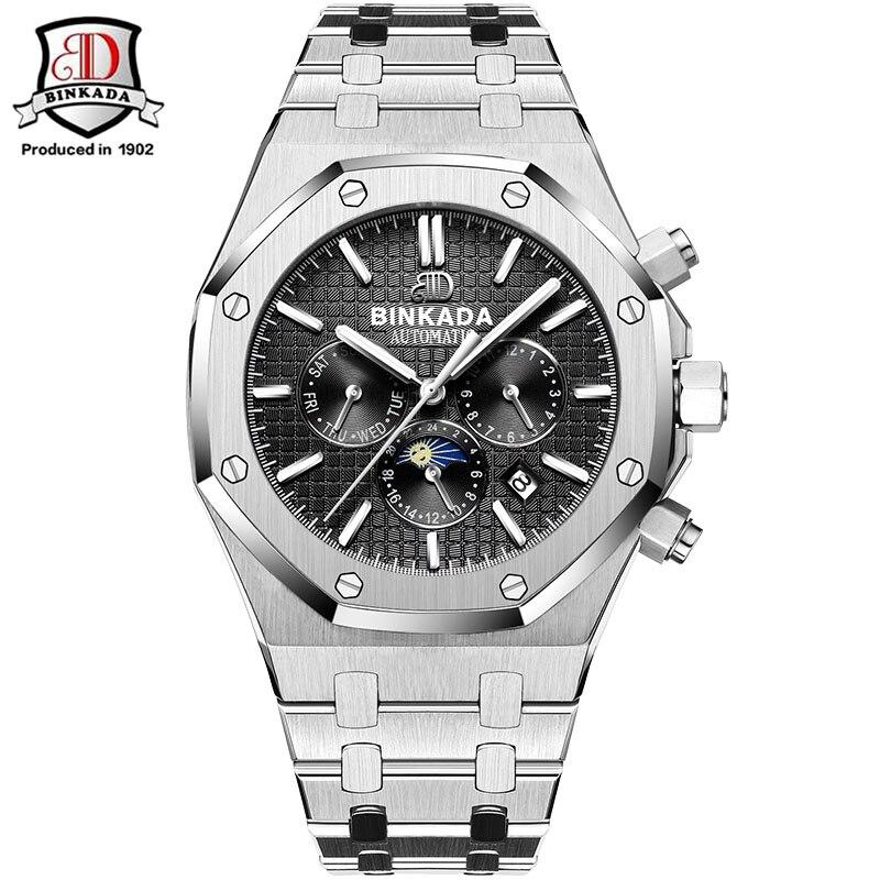 Montres Hommes De Luxe Top Marque D'origine Binkada Étanche Automatique mécanique Montres mode montre-bracelet pour hommes de Style Royal