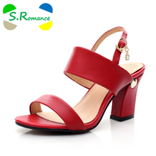 S.Romance New Women Sandals Genuine Leather Plus Sizes 34-43 Fashion Summer Classics Sandals Women Shoes Sandals Black Red SS056(China)