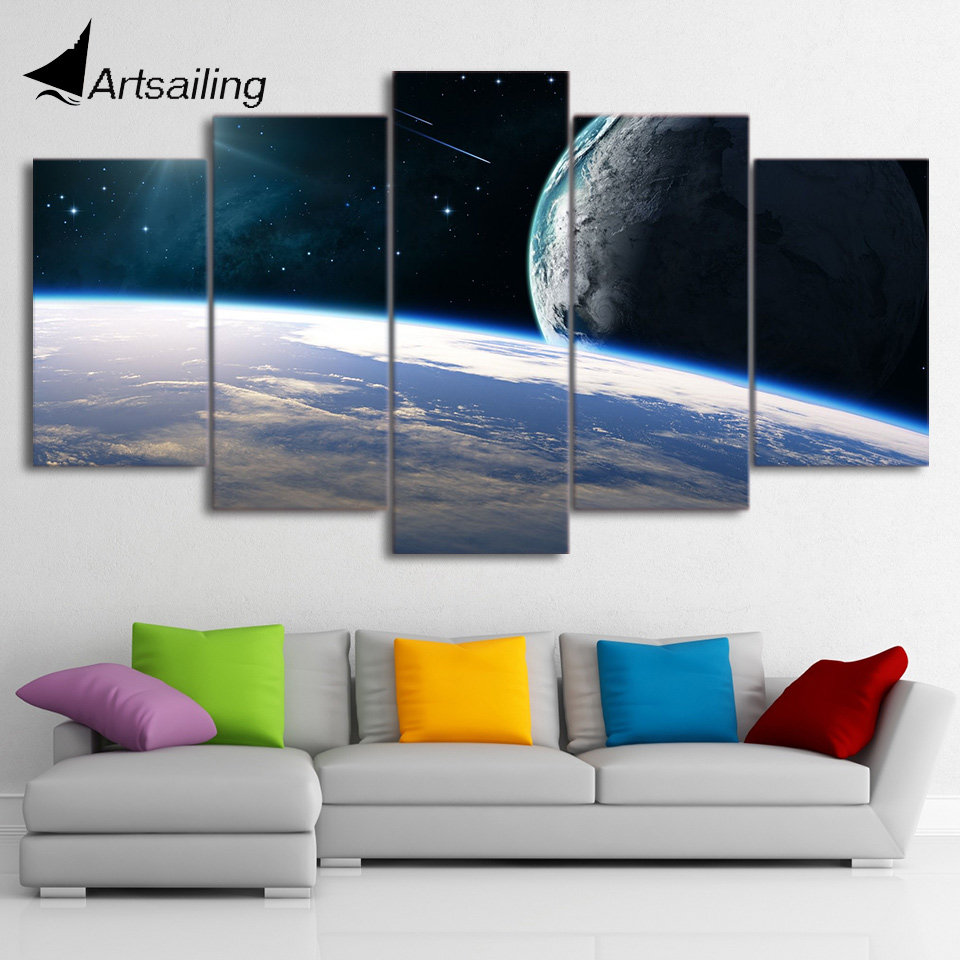 Planets Wall Art Us 5 99 40 Off Canvas Paintings Printed 5 Pieces Cosmic Planets Wall Art Canvas Pictures For Living Room Bedroom Modular Home Decor Cu 1423a In