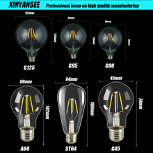 1 Pcs Vintage G45 A60 ST64 G80 G95 G125,E27 Light LED Filament Bulb, 2200K,Retro Vintage Lamps,Decorative Lighting,Dimmable
