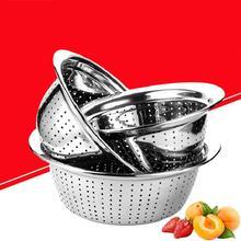 Thicken Stainless Steel Rice Washer Drain Basket Kitchen Vegetables Fruit Washing Storage Leaking Drainer Colanders&strainer
