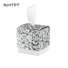RMTPT 50Pcs/lot Sequin Gift Box Present Packaging Candy Wedding Favor Gifts Marriage Decor Supplies